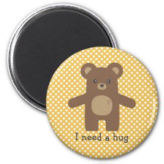 Cute Brown Bear Hug Magnet