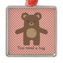 Cute Brown Bear Hug Metal Ornament