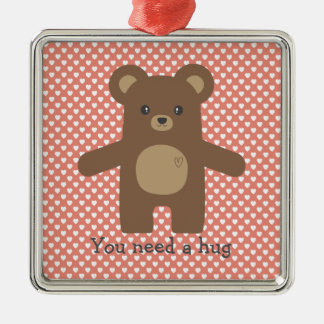Cute Brown Bear Hug Metal Ornament