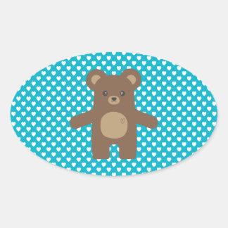 Cute Brown Bear Hug Oval Sticker