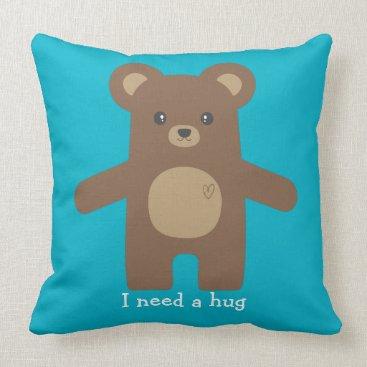 Beach Themed Cute Brown Bear Hug Throw Pillow
