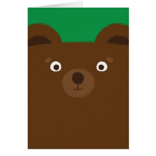 Cute Brown Bear Illustration Card