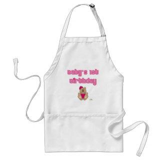 Cute Brown Bear Pink Baseball Cap Baby's 1st Birth Adult Apron