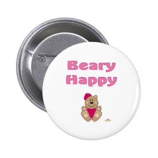 Cute Brown Bear Pink Baseball Cap Beary Happy Pin