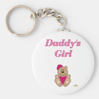 Cute Brown Bear Pink Baseball Cap Daddy's Girl Keychain