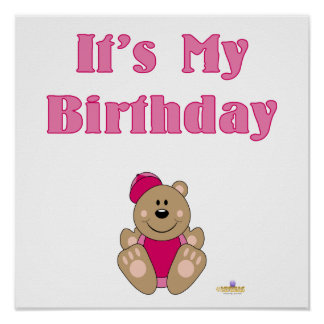 Cute Brown Bear Pink Baseball Cap It's My Birthday Poster