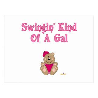 Cute Brown Bear Pink Baseball Cap Swingin' Kind Of Post Card