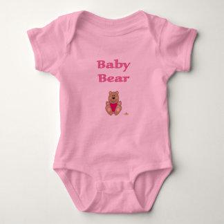 Cute Brown Bear Pink Bib Baby Bear Baby Bodysuit