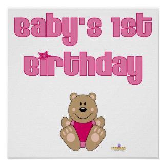 Cute Brown Bear Pink Bib Baby's 1st Birthday Poster