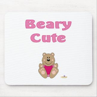Cute Brown Bear Pink Bib Beary Cute Mouse Pad