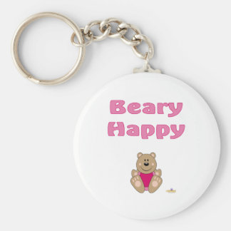 Cute Brown Bear Pink Bib Beary Happy Keychain
