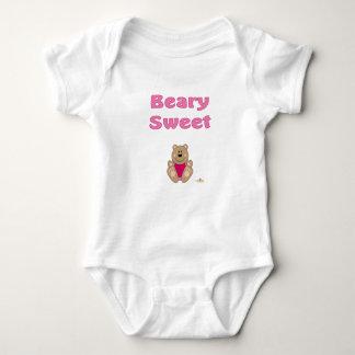 Cute Brown Bear Pink Bib Beary Sweet Baby Bodysuit