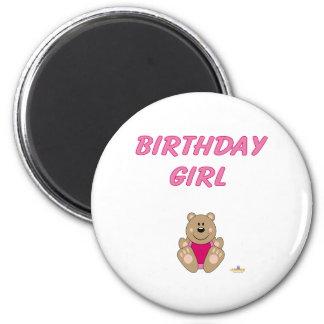 Cute Brown Bear Pink Bib Birthday Girl Refrigerator Magnets