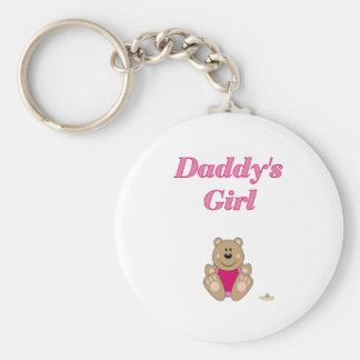Cute Brown Bear Pink Bib Daddy's Girl Keychains