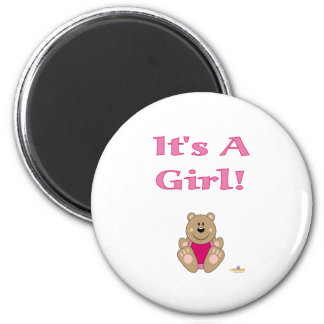 Cute Brown Bear Pink Bib It's A Girl Refrigerator Magnet