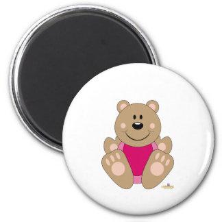 Cute Brown Bear Pink Bib Fridge Magnet