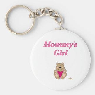 Cute Brown Bear Pink Bib Mommy's Girl Keychain