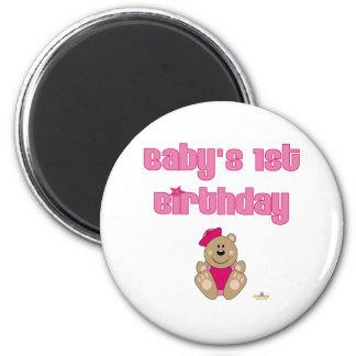 Cute Brown Bear Pink Sailor Hat Baby's 1st Birthda 2 Inch Round Magnet