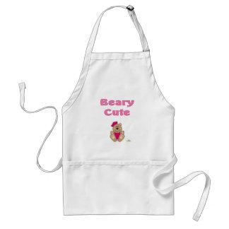 Cute Brown Bear Pink Sailor Hat Beary Cute Adult Apron