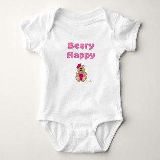 Cute Brown Bear Pink Sailor Hat Beary Happy Baby Bodysuit