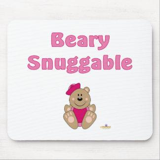 Cute Brown Bear Pink Sailor Hat Beary Snuggable Mouse Pad