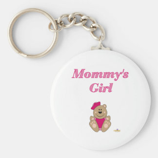 Cute Brown Bear Pink Sailor Hat Mommy's Girl Keychains