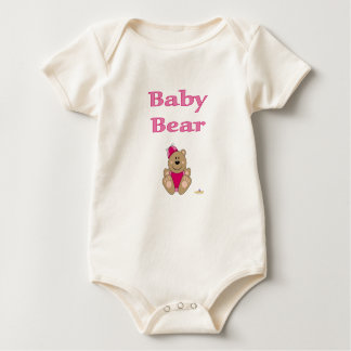 Cute Brown Bear Pink Silly Hat Baby Bear Baby Bodysuit