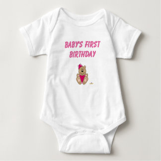 Cute Brown Bear Pink Silly Hat Baby's First Birthd Baby Bodysuit