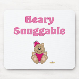 Cute Brown Bear Pink Silly Hat Beary Snuggable Mouse Pad
