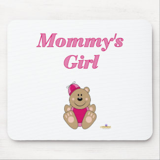 Cute Brown Bear Pink Silly Hat Mommy's Girl Mouse Pad
