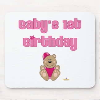 Cute Brown Bear Pink Snow Hat Baby's 1st Birthday Mouse Pad