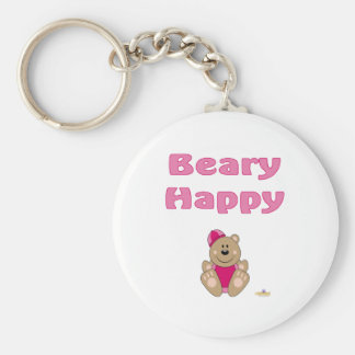Cute Brown Bear Pink Snow Hat Beary Happy Keychains