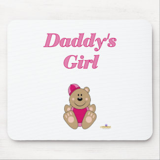 Cute Brown Bear Pink Snow Hat Daddy's Girl Mouse Pad
