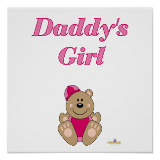 Cute Brown Bear Pink Snow Hat Daddy's Girl Posters