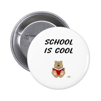 Cute Brown Bear Reading School Is Cool 2 Inch Round Button