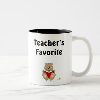 Cute Brown Bear Reading Teacher's Favorite Two-Tone Coffee Mug