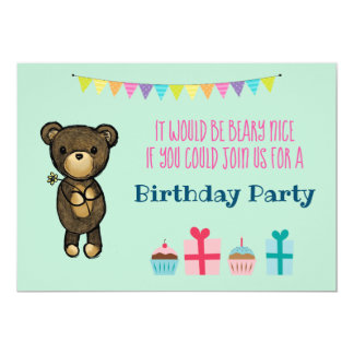 Cute Brown Bear with Yellow Flower Birthday Invite