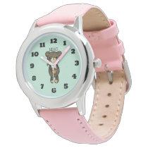 Cute Brown Bear with Yellow Flower Wrist Watch