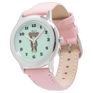 Cute Brown Bear with Yellow Flower Wrist Watch