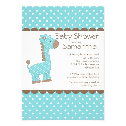 Cute Brown Blue Giraffe Boys Baby Shower Personalized Announcement