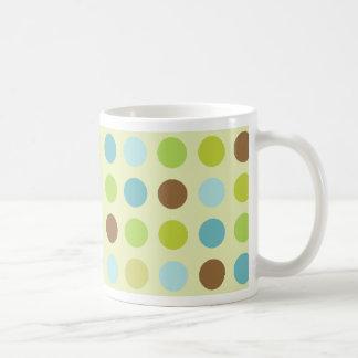 Cute brown blue polka dots coffee mug