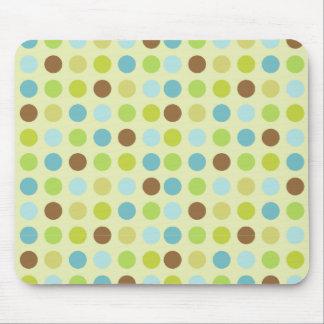 Cute brown blue polka dots mouse pad