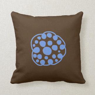Cute Brown Blue Space Asteroid Throw Pillow