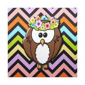 Cute Brown Boho Owl Canvas