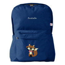 Cute Brown Bow Tie Fox American Apparel™ Backpack