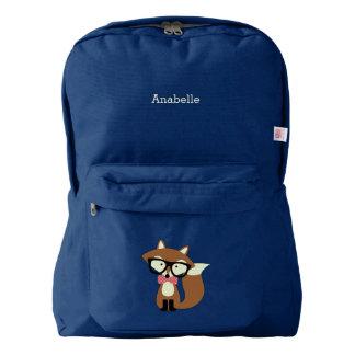 Cute Brown Bow Tie Fox American Apparel™ Backpack
