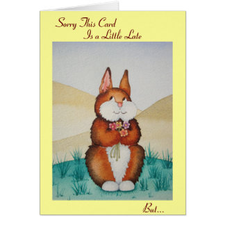 Cute brown bunny and flowers belated birthday card