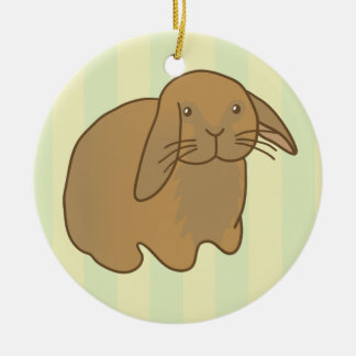 Cute Brown Bunny Double-Sided Ceramic Round Christmas Ornament