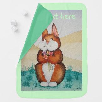 Cute brown Bunny rabbit colorful flower art design Stroller Blanket