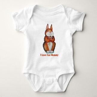 Cute brown Bunny rabbit flowers babies art design Baby Bodysuit